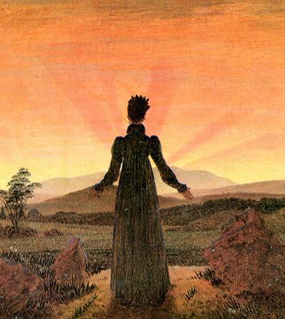 Woman behore setting sun